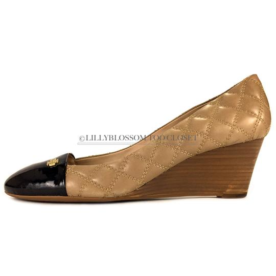 b38375ccac50 Tory Burch Beige Brazil Quilted Patent Leather Heel Wedges Size US ...