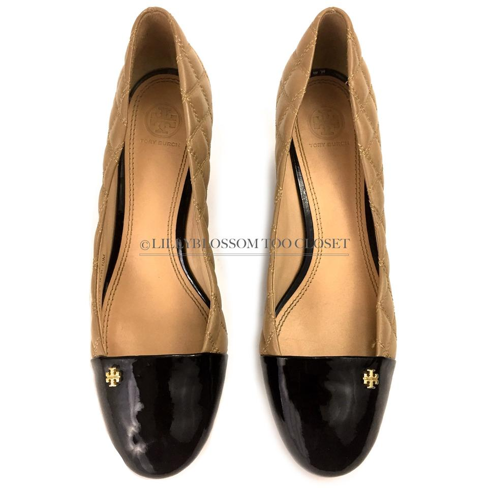 fa68ed9d1303 Tory Burch Beige Brazil Quilted Patent Leather Heel Wedges. Size  US ...
