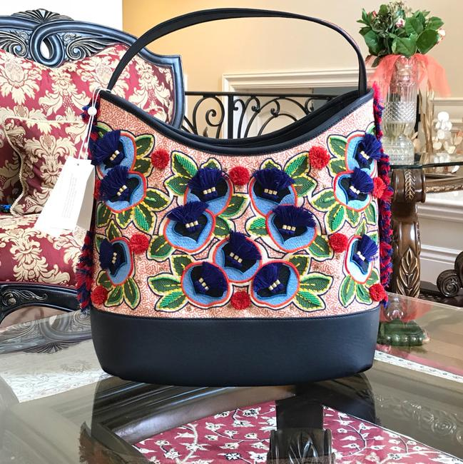 Item - Embroidered New Floral Navy Multicolor Leather Canvas Pom Pom Hobo Bag