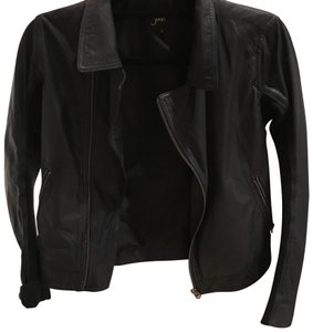 June navy with black detail Leather Jacket