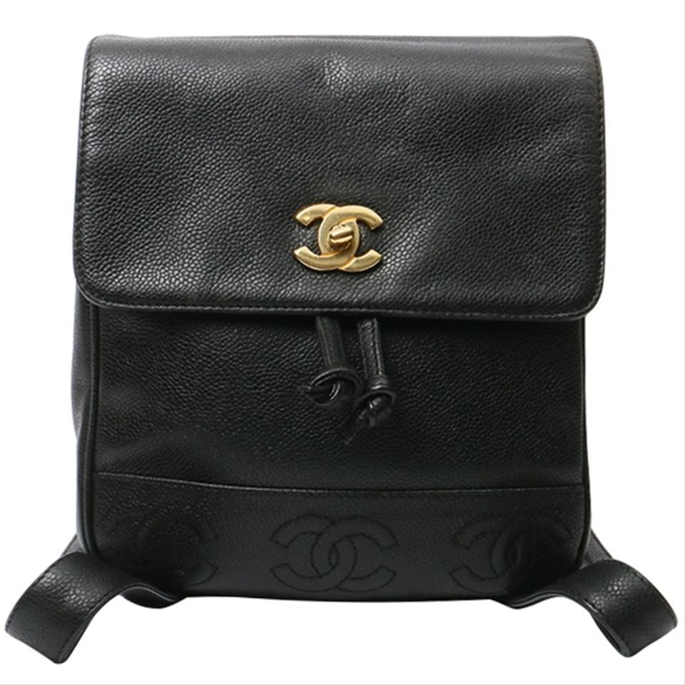 Chanel Backpack Vintage Cc Stiching Logo Black Caviar Leather ... e6a5fe3cfaf13
