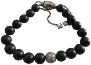 David Yurman Matte Black Onyx Beads w/Pave' Diamond Bead Adjustable Bracelet