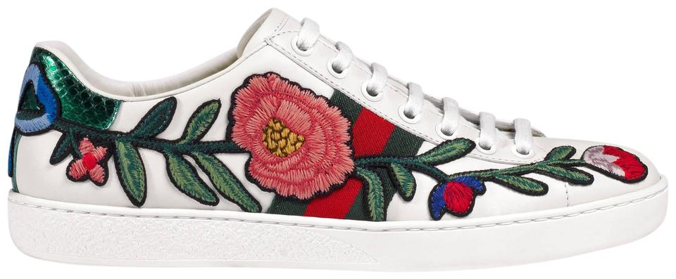 15cad043fc5 Gucci White New Ace Floral Embroidered Leather Low Top Sneakers 39 Flats