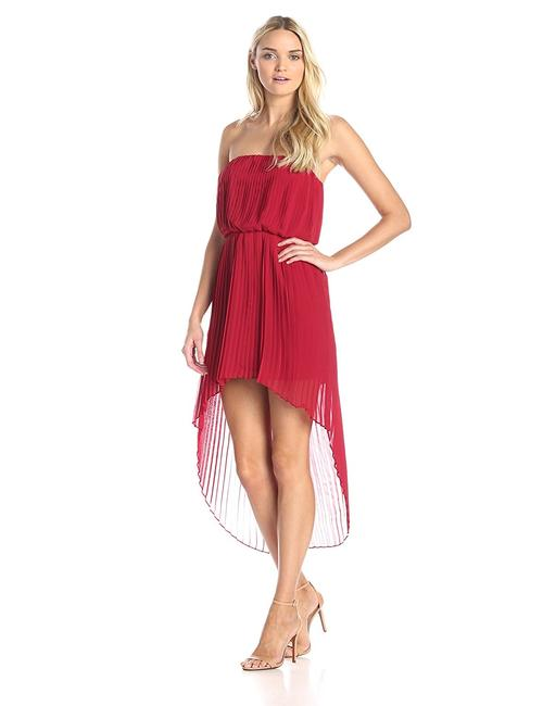 Item - Red Pleated High Long Short Casual Dress Size 8 (M)