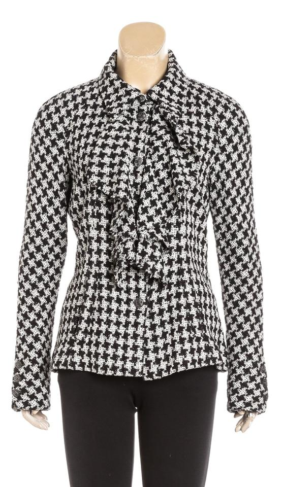 8c48435a030 Chanel Black Houndstooth Long Sleeve Tweed Jacket 09p 40) 480834 ...