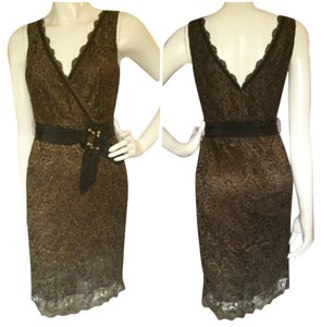BCBGMAXAZRIA Lace V-neck Brown Dress