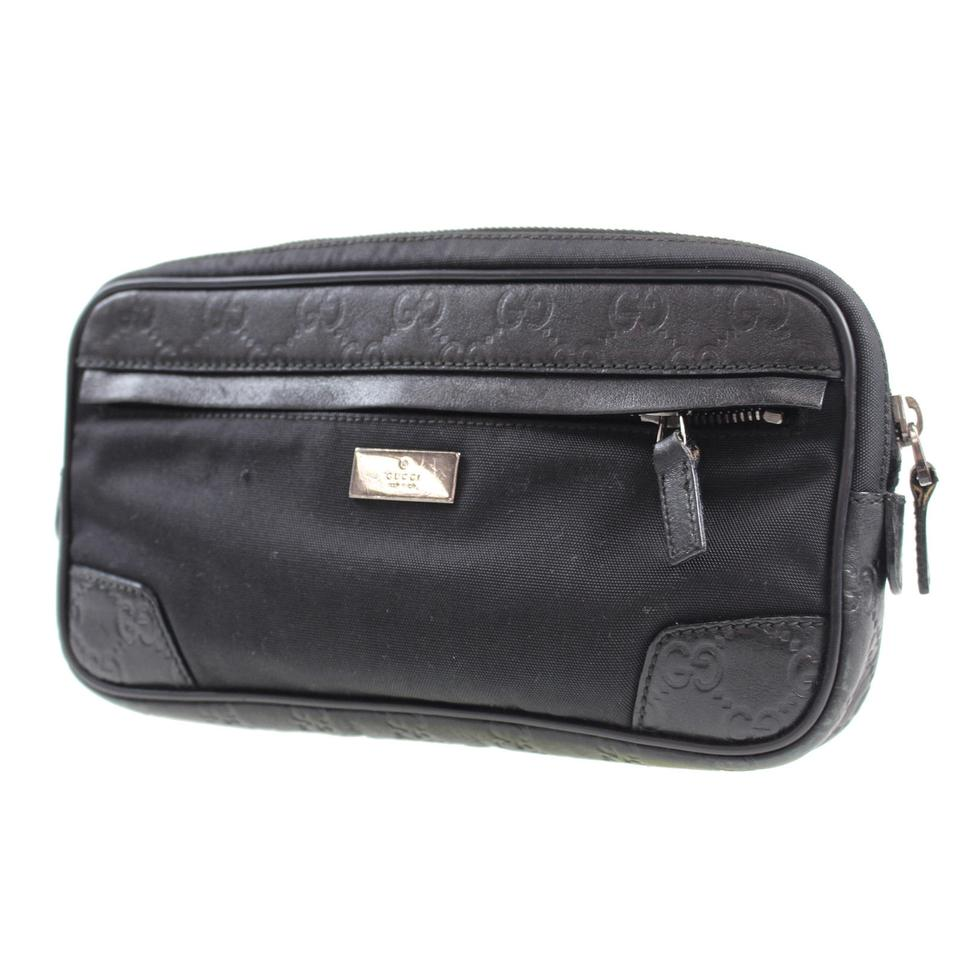 943bb069477 Gucci Gg Fanny Pack Waist Vintage Black Canvas Leather Clutch - Tradesy