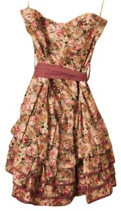Toskana short dress Pink Floral Roses Cute Sleeveless on Tradesy