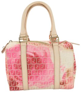 Fendi Sprouse Roses Flowers Speedy Boston Satchel in Pink