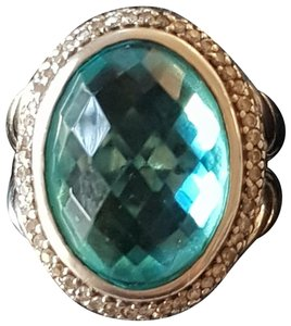 David Yurman David Yurman Oval Blue Topaz Two Row Diamond Ring