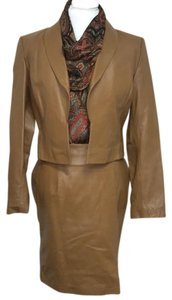 Lew Magram Lew Magram Tan Leather Skirt Suit