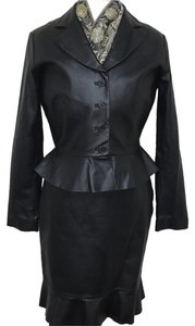 Bagatelle Bagatelle Black Leather Skirt Suit