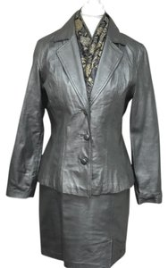 David Benjamin Silver Leather Skirt Suit
