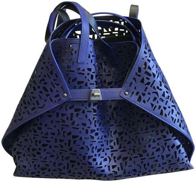 Item - Bag Within A Blue/Multi Leather Tote