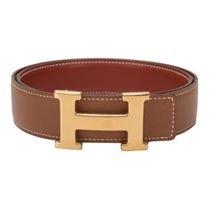 Hermès Hermes 32mm Reversible Gold/Brique Constance H Belt Gold Buckle 76cm