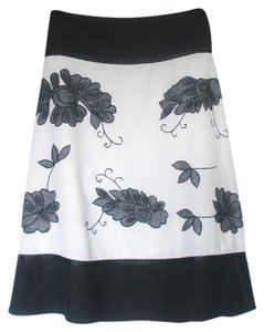 Chaudry Black & White Embroidered Skirt Black, White, Grey