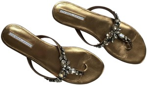 Vera Wang Lavender Label Rhinestone Leather Wedding Gold Sandals