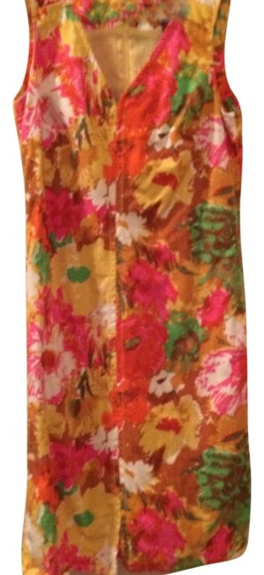 Talbots short dress green, pink, brown, yellow, white Attached Slip Comfortable Can Be Up Or Down on Tradesy