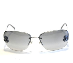 Chanel Chanel 4135 Gray Camellia Sunglasses Silver Metal Frames Black Lenses