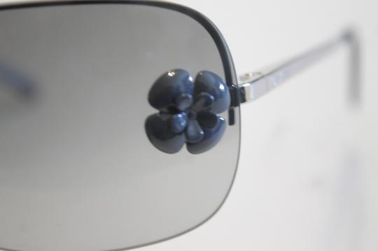 Chanel Chanel 4135 Gray Camellia Sunglasses Silver Metal Frames Black Lenses Image 1