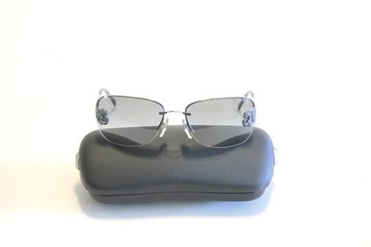 Chanel Chanel 4135 Gray Camellia Sunglasses Silver Metal Frames Black Lenses Image 2