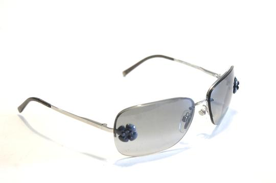 Chanel Chanel 4135 Gray Camellia Sunglasses Silver Metal Frames Black Lenses Image 3