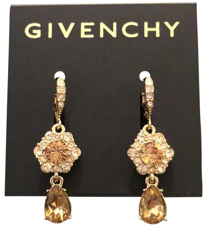 1ef3eea8f Givenchy Yellow Gold Champagne Color Crystals Flower Drops Earrings ...