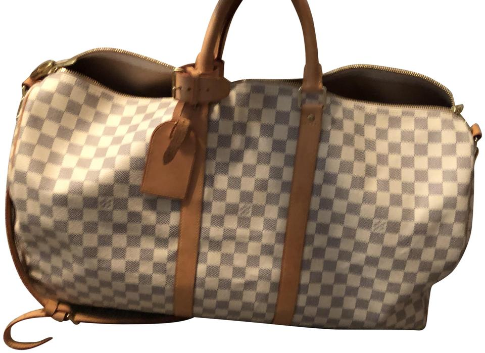 483e82e58c3f Louis Vuitton Keepall 55 Bandouliere White Damier Azur Canvas ...