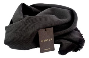 Gucci New Gucci 344993 Dark Loden Brown Wool Hysteria Crest Logo Scarf