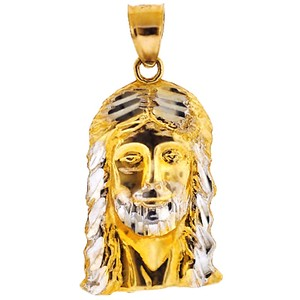 NY Collection Holy Face of Jesus Christ Head Religious Pendant Mens Solid 10K Gold