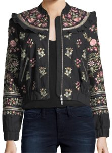 Needle & Thread And Embroidered Floral Silk Black Jacket