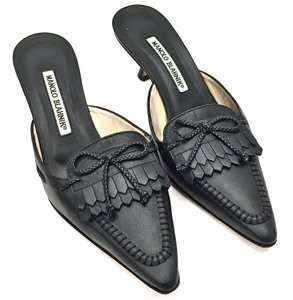 Manolo Blahnik Leather Tassels Bow Black Mules