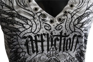 Affliction Studded Design T Shirt Grey