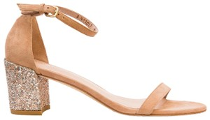 Stuart Weitzman Ankle Strap Glitter Nubuck Luxury Natural Sandals