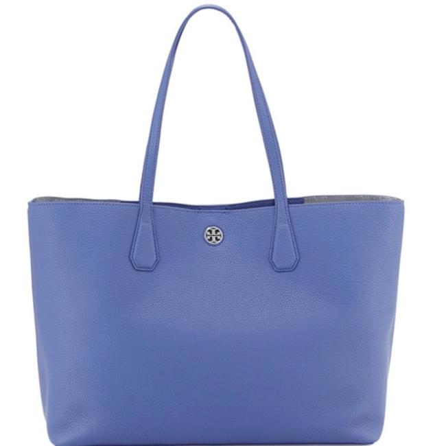 Tory Burch Perry Blue Leather Tote Tory Burch Perry Blue Leather Tote Image 1