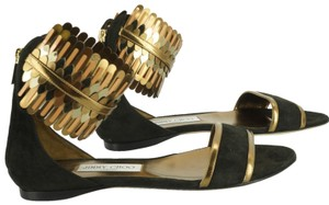 Jimmy Choo Gold Trim Formal Party Ankle Wrap 7072602 Black Sandals