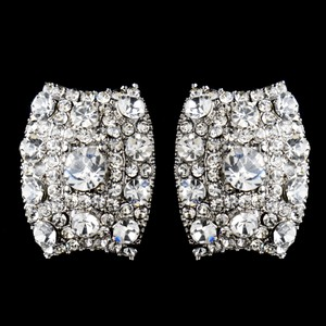 Elegance by Carbonneau Silver Clear Rhinestone Clip On Antique Earrings