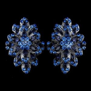 Elegance by Carbonneau Hematite Navy Blue & Lt Blue Rhinestone Clip On Earrings