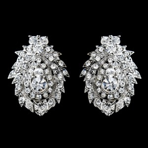Elegance by Carbonneau Silver Rhinestone Clip On Clear Earrings