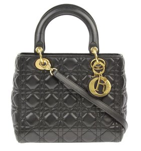 Dior Top Handle Quilted Shoulder Tote in Black