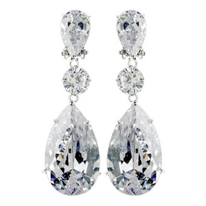 Elegance by Carbonneau Silver Cubic Zirconia Clip On Large Drop Earrings