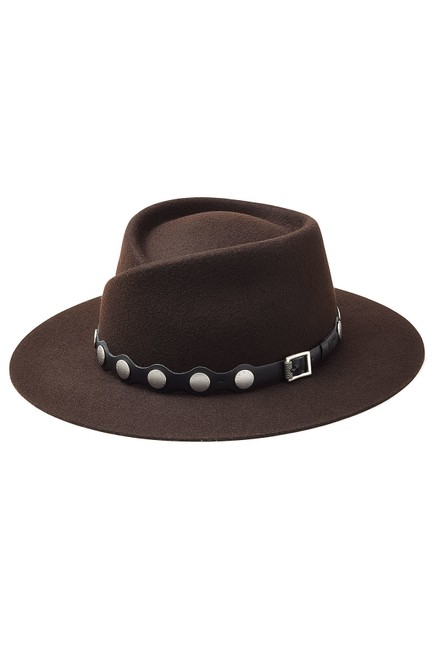 Item - Brown Edie Studded Leather-trim Wool Fedora Hat