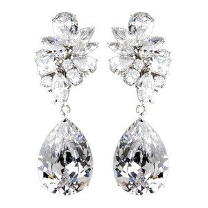 Elegance by Carbonneau Silver Clear Cubic Zirconia Clip On Earrings