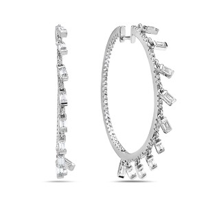 Crush & Fancy 925 Sterling Silver Crystal Hoops with Dangling Crystal Baguette Charm