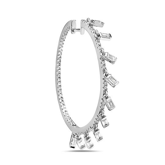 Crush & Fancy 925 Sterling Silver Crystal Hoops with Dangling Crystal Baguette Charm Image 1