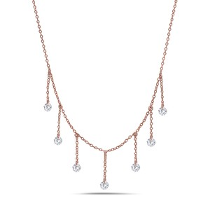 Crush and Fancy 925 Sterling Silver Rose Tone Briolette Choker.