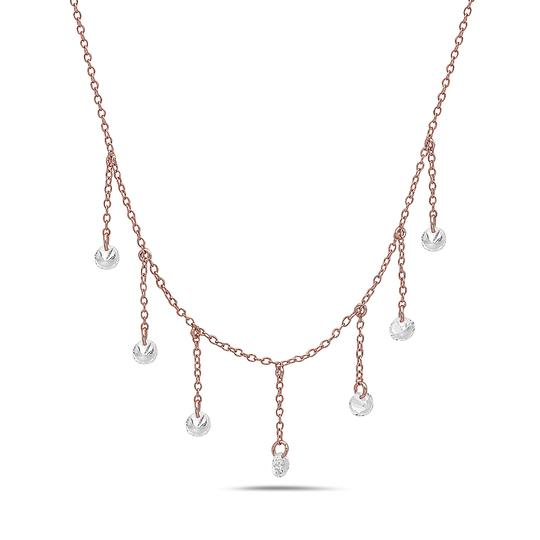 Crush and Fancy 925 Sterling Silver Rose Tone Briolette Choker. Image 1