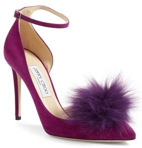 91c4499d9e60 Jimmy Choo Ankle Strap Fur Ball Pointed Toe Half D orsay 7072612 Purple  Pumps