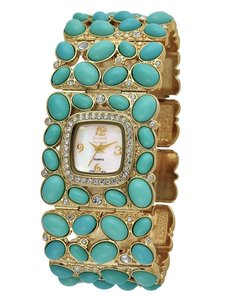 Kenneth Jay Lane New Kenneth Jay Lane Turquoise Link Swarovski Watch with Box