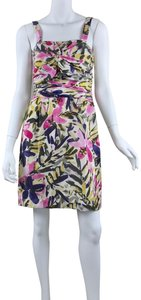 Banana Republic short dress multicolor floral Silk Strapless Summer on Tradesy